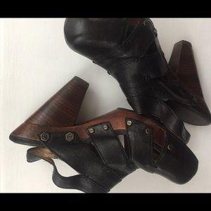 Fry platform leather heels. Sling backs